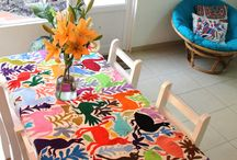 Fabric painted tablecloth