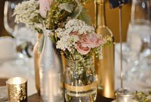 Vintage gold and white table decor