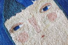 Embroidery faces figures