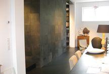Lederen muur keuken
