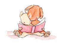 동물이 책 보는 그림