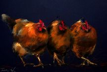 My hens, pastel and ink drawings