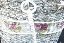 papírfonás (newspaper weaving) táskák, kosarak