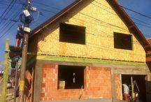 Mansarda din lemn / Galerie foto prezentand o lucrare de extindere si etajare casa din caramida pe un nivel - Mansarda din lemn executata din elemente prefabricate din lemn masiv si placi OSB