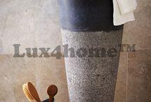 Wolno stojąca umywalka z kamienia do łazienki / Wolno stojąca umywalka z kamienia do łazienki Pedestal Hammered produkowana przez Lux4home™. Te stojące umywalki kamienne robimy z marmuru w różnych kolorach, onyksu - można je podświetlać, piaskowca. Każda stojąca umywalka ma wysokość 90 cm i średnicę 40 lub 50 cm mierzoną w górnej części kolumny. Zapraszamy do współpracy architektów wnętrz i sklepy z wyposażeniem łazienek.