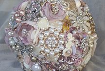 blush pink and rose gold brooch bouquets