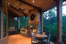 Log house deck