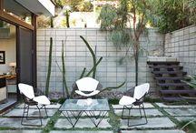 Concrete pavers grid modern