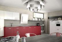 Cuisine Harmonie / Rouge & Blanc / Cuisine Harmonie mélaminé par Arthur Bonnet, Coloris Blanc & Rouge