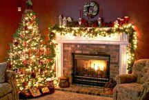 クリスマスの暖炉の飾り