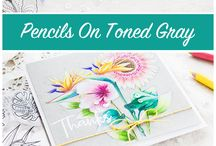 Craft Technique - Coloured Pencils / Love the look of coloured pencils, particularly on kraft/grey card ~ cards, packaging, tags, wrapping and gifts