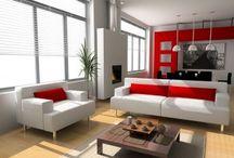 White, red, orange livingrooms