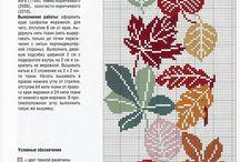 haft krzyżykowy - liście