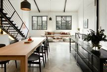 industrial / Loving this industrial warehouse living space ideas