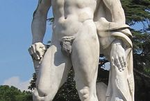 """Male Nude Sculpture 'Stadium of Marbles' Rome, Italy / """"Stadium of Marbles"""" Rome, Italy.    Cornwall Pride (uk) banned male nude sculptures by a local gay artist. So to help some of the Cornwall Pride committee bigots, Sprocket Trust began collating images of public nude art works to help educate them a little."""