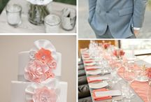 wedding coral and grey