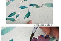 日本画 花を描く