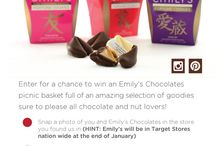 Pin-To-Win #EmilysChocolates #ISpyChocolate / Enter for a chance to win an Emily's Chocolates basket! 1) Snap a photo of you & Emily's Chocolates in the store. 2) Pin the photo on Pinterest or Instagram. 3) Include in the caption: #EmilysChocolates #ISpyChocolate