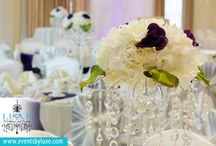 Purple and Ivory Wedding Decor / Purple and Ivory Wedding Decor, white wedding backdrop, sweetheart table decor, hydrangea centerpieces