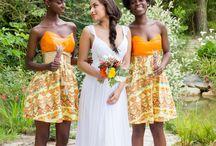 Africa wedding bridesmaid dresses idea / Idées de modèle ou de type de pagne pour des demoiselles d'honneur pour un mariage africains