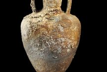 Greek amphora and roman amphora / Greek amphora - Roman amphora - Amphora handle seal - Garum - Amphora stamp seal