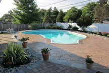 Stamped Concrete / Beautiful Concrete Creations - stamped concrete patios, walkways, pool decks and more. Great ideas for combining pavers and stamped concrete or Flagstones and stamped concrete.