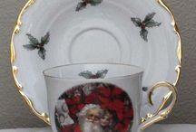 Christmas Tea Time Tea Cups Teapots