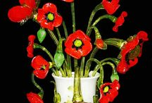 Sculptures lumineuses en forme de bouquets de fleurs, verre soufflé de Murano / Sculptures lumineuses en forme de bouquets de fleurs. Fabrication artisanale de Venise selon les techniques traditionnelles de Murano. Disponibles chez les Artisans du Lustre: www.i-lustres.com