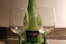 Glitter bottle wine glasses