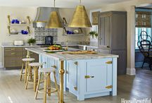 House Beautiful October 2016 Issue / The co-founders of Urban Outfitters and Anthropologie featured Rutt Custom Cabinetry in their beach house kitchen. Designed by Rutt Showroom, The Hammer & Nail, Inc. helped make the kitchen feel elegant and earthy incorporating Rutt Custom Cabinets in Keswick Oak around the perimeter and creating a statement island with a turquoise blue paint finish and custom brass hinges and hardware.