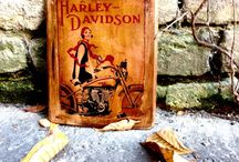 Vintage Motorcylce Home Decor Wall Decor From Antique Wood Wooden Picture / https://www.etsy.com/shop/BlackArielDesign?ref=l2-shopheader-name