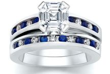 2.30 ct Asscher Diamond with Round Blue Sapphire Ring Set