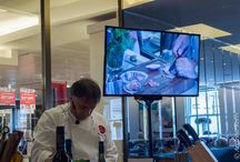 It can happen to the best of us / It can happen to the best of us!  Raymond Blanc cuts his finger while chopping shallots for his Moules Mariniere at a food demonstration at Brown Thomas Department store in Dublin, Ireland.
