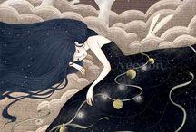 moon/luna/noche / by Ghinny Ghinny