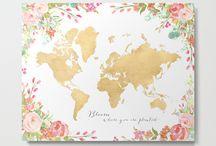 ~ Floral world maps ~ Metal prints