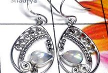Filigree Earring / Filigree Earring Casting Indian Silver jewelry with Gemstones.By Shaurya International