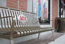 Custom Benches / With our benches you have the ability to have a custom design or logo put on the bench.  They are laser cut out of a single sheet of metal and then bent into the shape of the bench to minimize the weld so that they will last a long time.