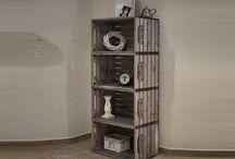 Regály a stojany z bedýnek / Praktický prostor pro vystavování zboží v obchodě, nebo úložný prostor v domácnosti od SKYWANDER