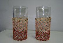 Θήκες Ποτηριών / Χειροποίητες Θήκες Ποτηριών διακοσμημένες με διάφορα όμορφα υλικά