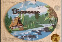 Plaque bienvenue / Plaque de Bienvenue en bois, entièrement fait à la main. 100% personnalisable, proposition en image du rendu