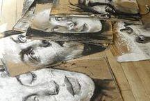 paintings on cardboard