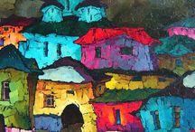 Taloja maalauksissa