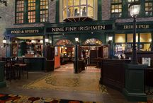 Nine Fine Irishmen / Inspired by a group of extraordinary Irishmen who led lives of great adventure, this is a pub of epic proportions starring a grand Victorian-style bar, ornate cottage areas, shop-style snugs, and two levels of outdoor patio dining with a spectacular Las Vegas Strip view.