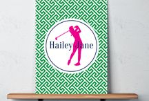 Golf Rooms for Girls / Golf themed bedrooms for girls and teens.  Duvet cover bedding sets, throw pillows, wall art prints, gallery wrapped canvases, shower curtains.