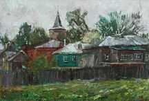 """The Russian house - Русский дом / I have a lot of paintings with the image of the Russian house. This is a traditional wooden dwelling of the Russian people. Russian house is a simple, harsh and powerful and I like it. For me it is like a living. Perhaps that is why I always interested in this theme. I decided to combine all the paintings in the series called """"Russian House""""."""