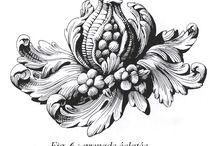floral ornaments / floral ornaments, etching, botanical, design,