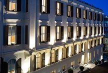 Architectural façades illuminated