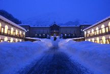 Place to go: Oropa by night / Santuario di Oropa is the largest Sanctuary of the Alps, in winter, with the snow, is magic!