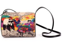 Horizontal Tube - Animal Lovers / Women Leather Handbags, Limited Edition Designer Leather Bag COLOURS OF MY LIFE - Limited Edition wearable art signed by Anca Stefanescu.