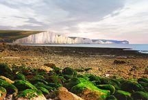 Seven Sisters, East Sussex / Chalk Cliffs of Southern England. Seven Sisters and Beachy Head. Меловые скалы Южной Англии, национальный парк Семь Сестер и скала самоубийц Бичи Хэд.
